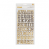 American Crafts Thickers chipboard letterman gold foil x2