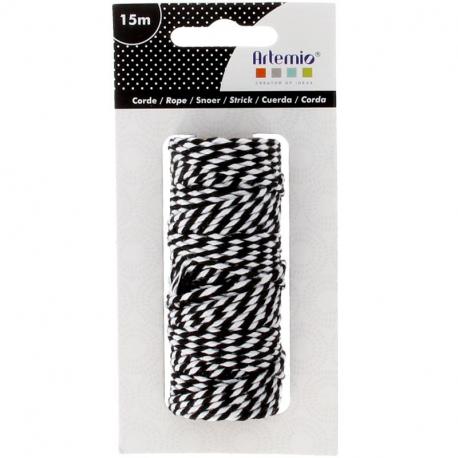 ARTEMIO Ficelle bicolore coton - Black & White - 1 mm x 15 m