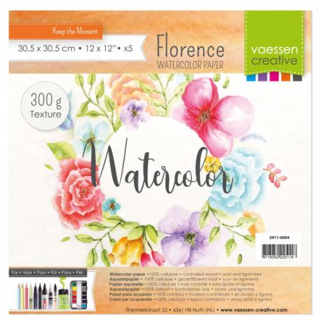 Florence • Papier aquarelle texture 300g. 30,5x30,5cm 5pcs